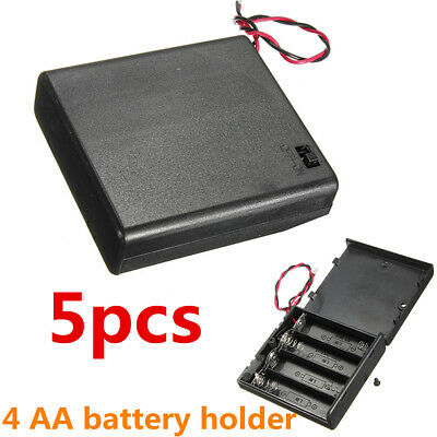 5pcs 4 x AA 6V Battery Holder Storage Connector Case Box ON/OFF Switch Lead Wire