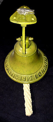 Cast Iron TITANIC 1912 LONDON Bell Working condition with three matching screws