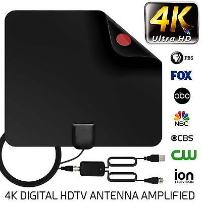 Digital HDTV Freeview Indoor Antenna with TV Aerial Amplifier 80 Mile Range-Thin