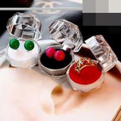 10Pcs Acrylic Ring Earrings Jewelry Crystal Box Storage Gift Display Transparent