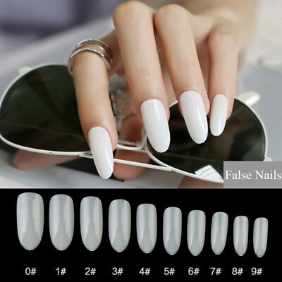 500PCS Long Almond Oval False Artificil Nails Acrylic Fake Nails Full Well Tips