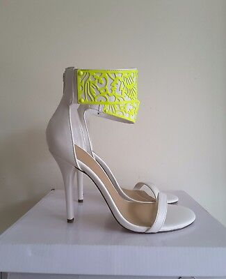25420c3f15b ASOS Womens White Yellow Ankle Strap Heeled Sandals. Size UK 5