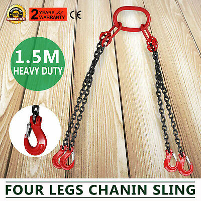 5FT Chain Sling with quad Legs 5t Capacity Adjustable Lifting Rigging  t8 Level