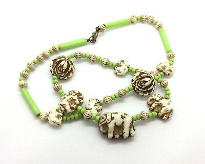 Antique Art Deco Czech Max Neiger Carved Elephant & Rose Glass Bead Necklace