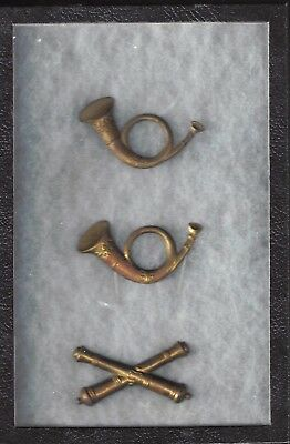3 Civil War Hat Devices, two Infantry Horns and one Artillery Insignia in Case