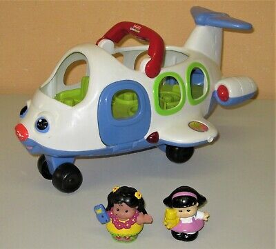Super Fisher Price Little People Flugzeug mit 2  Männchen Sound in pink + rosa