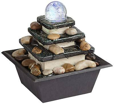 Zen Indoor Water Fountain With LED Light Rolling Ball 3 Tier For Table Top  Desk