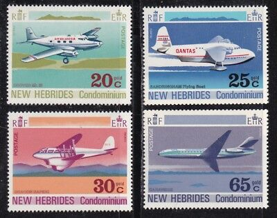 New Hebrides, British #151-154 Mnh Airplanes