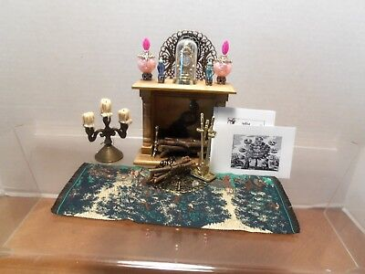 Lot: Decorative Fireplace with Vases, Andirons, Clock & more!...signed by artist