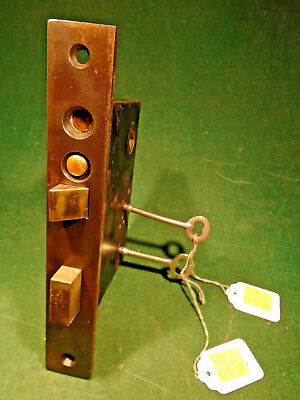 "VINTAGE NORWALK HARDWARE DOUBLE KEY ENTRY MORTISE LOCK w/BOTH KEYS - 7"" (7526)"