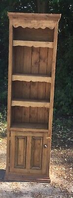 Pine Open Bookcase  With Cupboard In Base