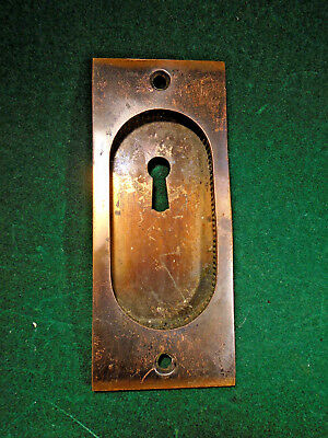 Yale & Towne Brass Japanned Pocket Door Plate - Circa 1880-1900  (10335-5)