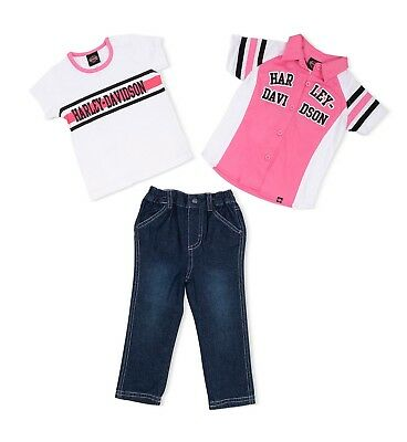 58d416c3245 HARLEY DAVIDSON INFANT   Baby Girl Denim Trousers And 2 Shirts