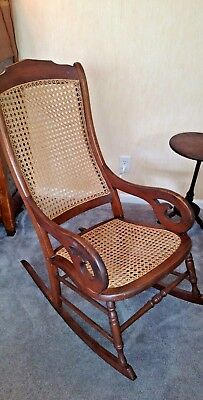 Antique Victorian Cane Seat  and Back Rocking Chair