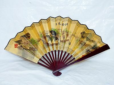 Vintage Chinese Hand Fan Village Scenery & Calligraphy Cloth Rosewood Handle EUC