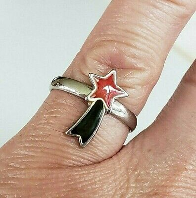 Vtg Shooting Star Enamel Silver Tone Ring Size 5 Adjustable