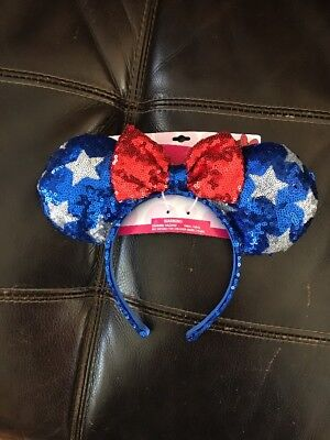 patriotic 4th July disney minnie mouse red white blue sequin stars ears headband