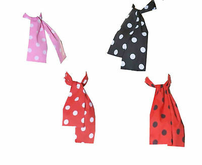 Ladies Girls Polka Dot 50's Grease Style Neck Tie Head Scarf 1950's RED BLACK