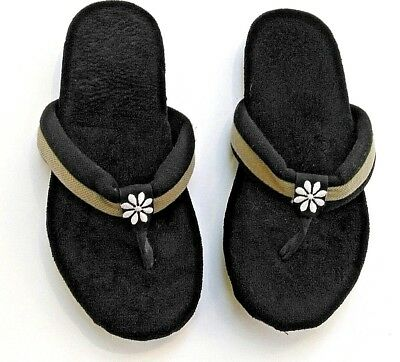 308e6a54e03 Isotoner Thong Slippers Black Gray Embroidery Velour Machine Washable Size 7
