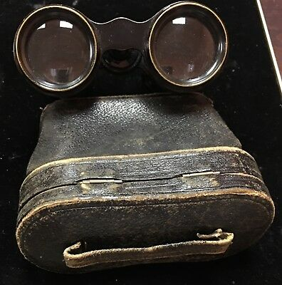Vintage Woodcraft Leather Colmont Superior Paris Binoculars with Case - As Is