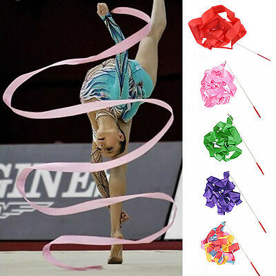 Children 4M Dance Ribbon Gym Ballet Streamer Twirling Art Rod Gymnastic Rhythmic