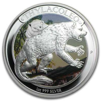 2014 1 oz Australia Silver Colorized Megafauna Thylacoleo Proof with Box & COA