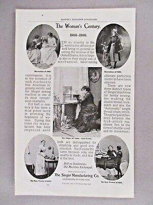 Singer Sewing Machine PRINT AD - 1900 ~~ The Woman's Century