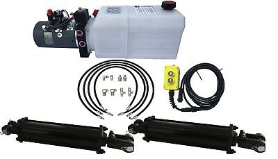 DUAL CYLINDER 6' x 10' Dump Trailer Kit with double acting KTI Pump