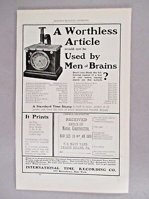 Standard Time Stamp PRINT AD - 1901 ~~ International Time Recording Co.