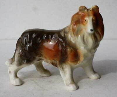 Border Collie Dog Figure Ceramic-Porcelain Hand Painted Made in Occupied Japan