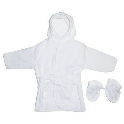 White Terry Bath Robe with Hood for Baby with booties one size
