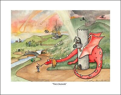 Fine Art Giclee Print Motorcycle Cartoon Dragon Knight Crusade