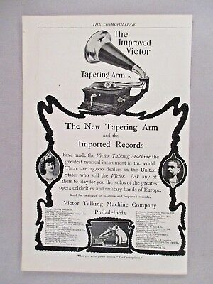 Victor Talking Machine PRINT AD - 1903 ~ phonograph, record player, tapering arm