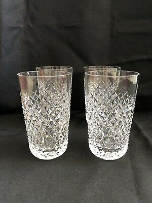 """Waterford Crystal Alana 5"""" Tumblers Set of 4 Signed Mint Condition Never Used"""