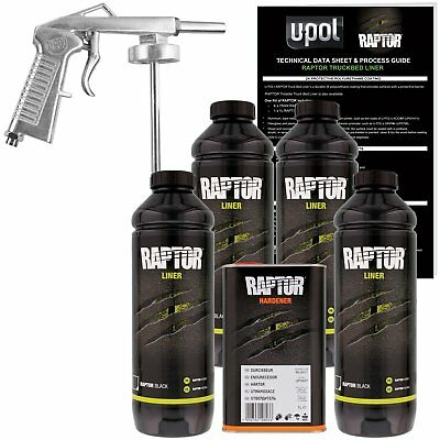 U-POL Raptor Black Urethane Spray-On Truck Bed Liner Kit w/ FREE Spray Gun 4L