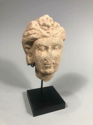Fine  RARE Gandhara Gray Schist Stone Head of the Buddha ca. 2-3rd century AD