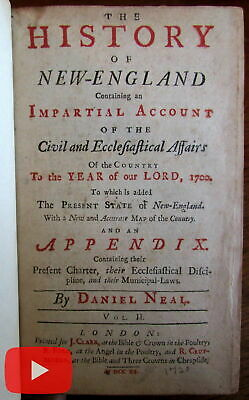 New England 1720-1747 Neal set 2 rare old books Colonial English history