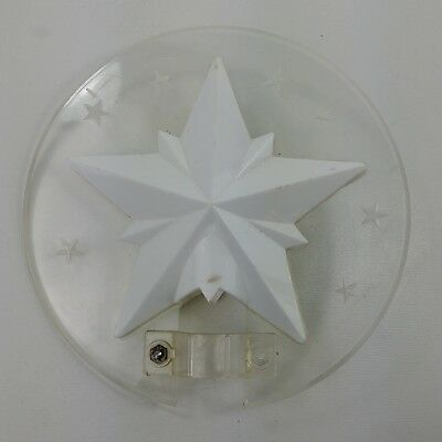 jc Vintage White Star Round Clear Chritsmas 6 Inch Diameter Tree Topper
