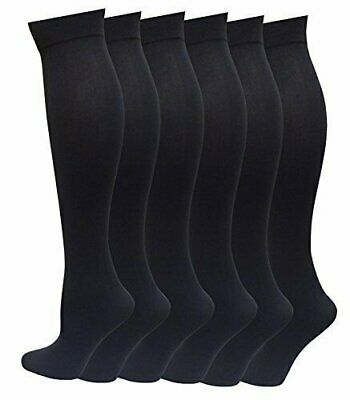 6 Pairs Pack Women Knee High Trouser Socks Opaque Stretchy Spandex (Dark Gray)