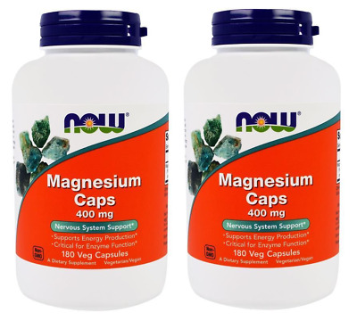 2x Magnesium 400mg 180 Caps NOW Foods