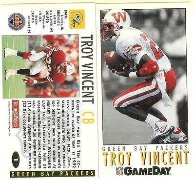 1992 TROY VINCENT NFL GameDay DRAFT 3 card set-Rookie-Wisconsin-Packers-Colts+