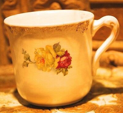 """Old Antique Victorian Men's Shaving Cup 3"""" H Gold Gilt Red Yellow Cabbage Rose"""