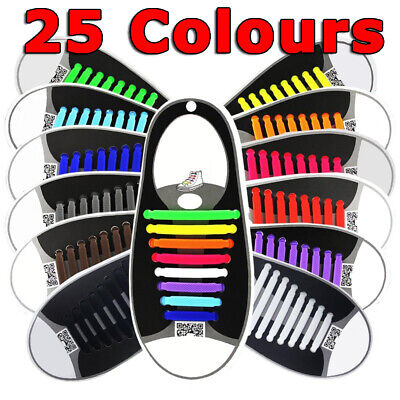 No Tie Elastic Silicone Shoe Laces Lock Shoelaces Sneakers Runners Flat Round
