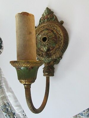 Vintage Art Deco Brass Ornate Colored Candle Electric Wall Sconce Light Fixture