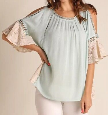 0e553fd7d47a3 UMGEE Top Size Small Women s Green Cold Shoulder Lace Details Short Sleeve  Top