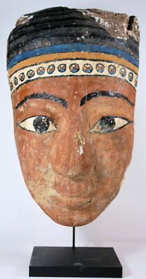 Ancient Egyptian Mummy Wood Mask Third Intermediate Period (1550-712 BC)