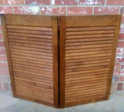 Vintage Wood Shutters Louvered 2 Panels Hinged Interior Window  36W x 29H