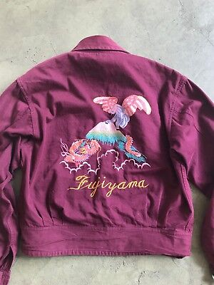 VTG 40's/50's sukajan Japan tour jacket Fujiyama chore embroidered wanda jackson