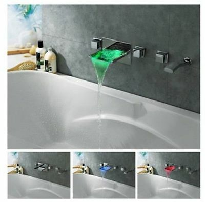5PC Bathroom Sink Faucet Basin Vanity Mixer Tap Wall Mount With Hand Shower Set-