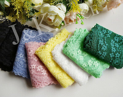 9.5cm width Beautiful 7 Colors(pink/yellow/blue/green/white/black) Stretch Lace